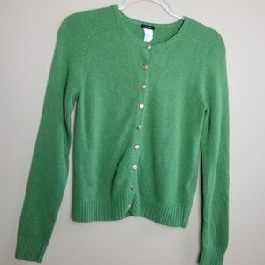 J Crew Green Wool Cashmere Cardigan Gold Buttons M